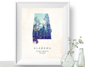 Alabama | State Tree Map Art, State Map Print, Map Poster, Wall Art, Art Print  | Home or Office Decor, Gift for Nature Lover