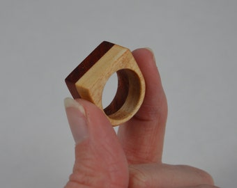 Maple and Padauk Two-Tone Wood Statement Ring