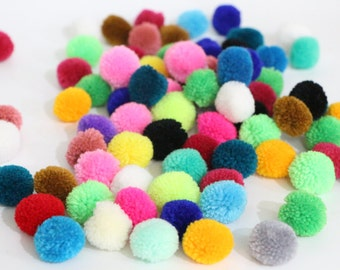 Mixed Colors Yarn Pom Poms Crafty 100 Pieces Jewelry Making / Decoration Party
