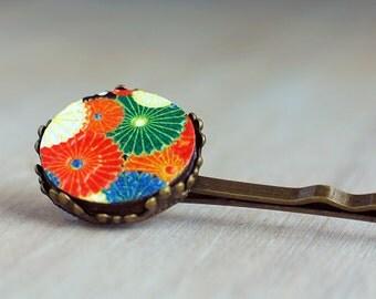 Colourful Japanese hair slide | Floral bobby pin | Asian hair clip | Oriental flower hair pin | Red Orange and Green | Chrysanthemum | Retro
