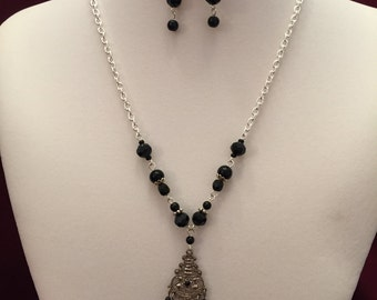 Silver and Black Crystal Beaded Necklace and Earring Set