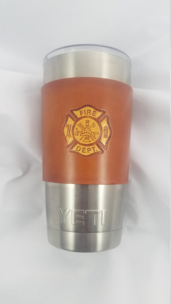 Leather Tumbler Sleeve - FIREMAN Logo