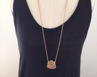 Vintage functioning purse necklace gold tone medium ball chain