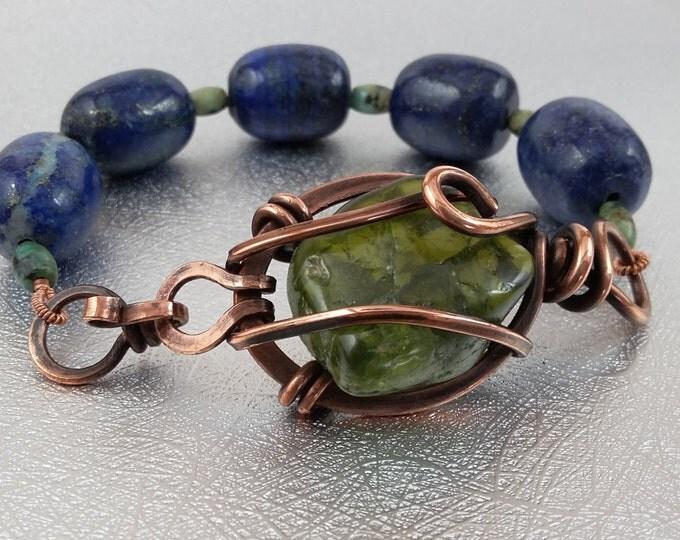 Arizona Peridot Lapis Lazuli Copper and Turquiose one of a kind bracelet