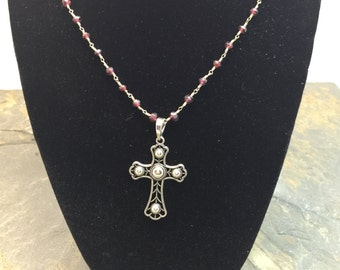 Garnet Necklace with sterling silver pendant cross