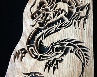 Dragon - Hand-cut Wood Decoration Tribal Striking Intricate Scroll Saw Art