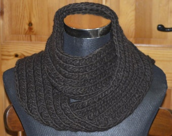 Dark Brown Farrow Rib Scarf