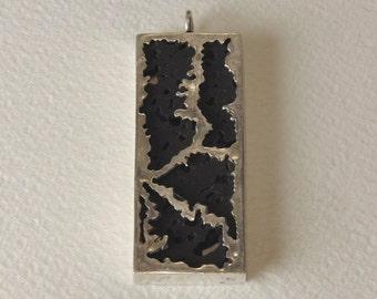 Pendant in 925% Silver and Lava