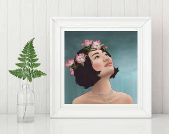 Spring- Art Print, Woman Portrait Art Print, Illustration Print, Pagan Art Print, The Seasons Art Print, Wall Art, Digital Art Print
