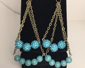 Aventurine Earrings Blue Beaded Earrings Sparkly Dangles Bronze Chain Earrings Beaded Chain Hook Earrings