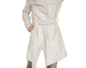 Asymmetric Grey Oversize Loose Plus Size Maxi Cashmere Woman Handmade Coat