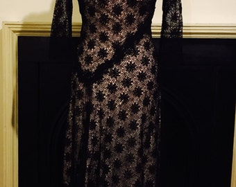 Beautiful black and pink lace detail dress