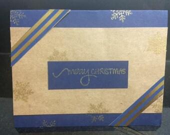 Navy and Gold Homemade Christmas Card