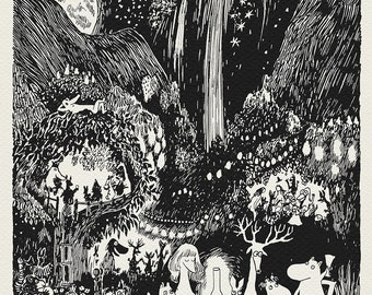 Moominvalley Party - classic Moomin print poster based on illustration to Finn Family Moomintroll book