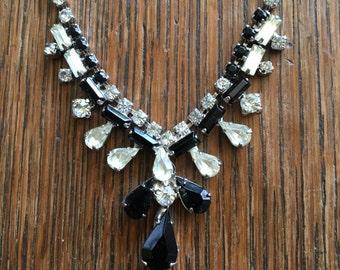 Vintage Rhinestone + Black Stone Teardrop Necklace