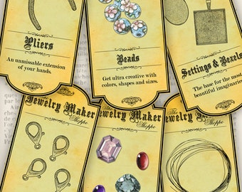 The Jewelry Maker's Shoppe Labels apothecary tools printable paper craft hobby crafting instant download digital collage sheet - VDAPVI1087