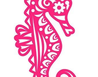 Seahorse Tribal Vinyl Decal- Seahorse Car & Wall Decal- Caballito De Mar Calcomania