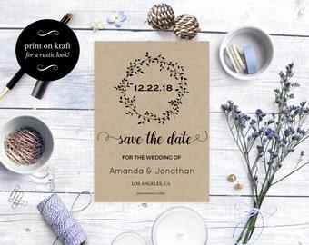 Printable Rustic Kraft Save the Date Card - Wedding announcement - Rustic wedding - Fall wedding - Downloadable wedding #WDH0108