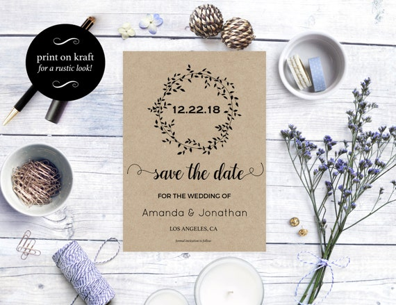 Printable Rustic Kraft Save the Date Card - Wedding announcement - Rustic wedding - Fall wedding - Downloadable wedding #WDH0108