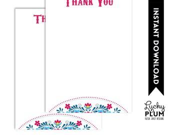 Fiesta Thank You Card / Tribal Flower Thank You Card / Mexican Fiesta Thank You Card / Papel Picado Thank You Card