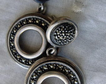Vintage Judith Jack Sterling Marcasite Classic Circle Dangle Drop Post Earrings