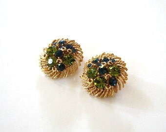 vintage Lisner earrings . green & blue rhinestone clip on earrings . signed Lisner jewelry . mid century jewelry