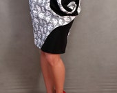 LIMITED EDITION Made to Order Marilyn Monroe Retro Faces Swirl Pencil Skirt with Red Lips Applique