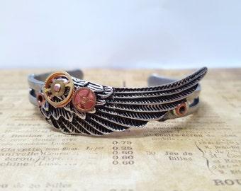 Steampunk Angel Wing Bracelet, Steampunk Jewelry, Cosplay Jewelry, Angel Wing Bracelet, Mechanical Wing Bracelet, Heavenly, Gift for Her