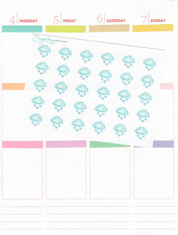30 snow, snowy, winter, classic, watercolor style, hand drawn, weather icons, weather trackers, planner stickers, S1WEA18