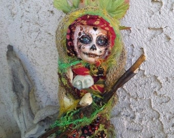 DEPOSIT ONLY Equinox Moon, Sugar skull,  Handmade figure, OOAK Art Doll, Garden Spirit, Kitchen witch, Wall decor