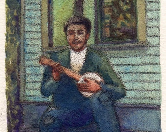 Balladeer - Vintage Man Playing Banjo Music Monotype with Watercolor Original Framed Art Belinda Del Pesco