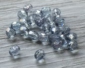 Faceted round beads - Czech glass beads- silver blue 5mm  25  (F503)
