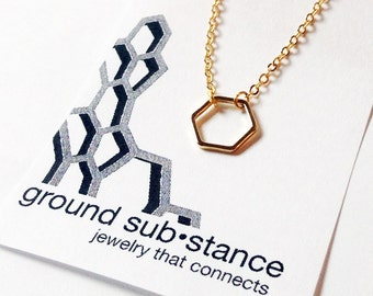 Hexagon, Necklace in Gold