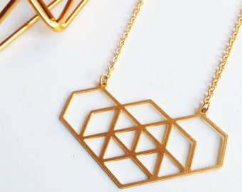 Geo Hex I, Necklace in Gold