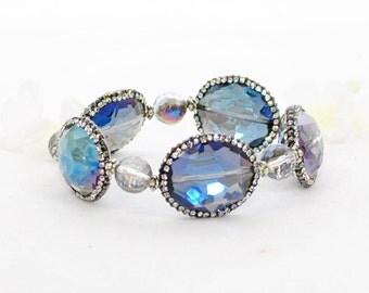 Blue Bracelet Cuff Blue Skies - Crystal Stretch Bracelet - Dark Blue Crystal Bracelet - Sapphire Blue  Crystal
