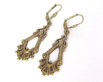 Art Deco Earrings, Ornate Steampunk Design, Vintage Style Antiqued Gold Earrings, Bridesmaid Gift, Bridal Bride Wedding Jewelry, Art Nouveau