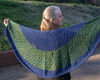 Love the Earth-Blue/Green Lace Shawl
