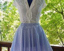 Blue Gingham Circle Skirt Dorothy Costume Adult Size Child Size Custom Wizard of Oz costume Full Skirt