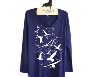 S, or L - Navy SUPER SOFT V-Neck Long Sweater/Sweatshirt with Night Birds Screen print