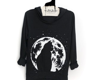 S or M- Black SOFT Pullover Hooded Sweatshirt with Cat Moon Screen print
