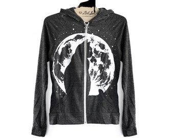 SALE Small- Charcoal Gray/Black Hooded Zip Up Lightweight Hoodie with Cat Moon Screen Print