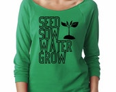 Gardening Shirt Off Shoulder Sweatshirt Seed Sow Water Grow Shirt Women's Clothing Print Long Sleeve Jumpers Active wear gym Atheltic