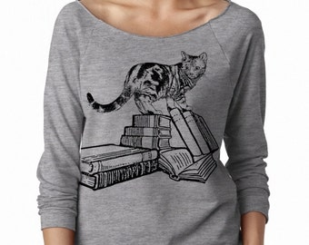 Womens Cats Sweatshirt Crazy Cat Lady Sweater Women's Books Shirts Clothing Screen Print Cute Retro kitten Sweaters Button Up reading shirts