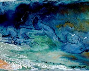 "Breaking Waves - Original Poured 24""x4"" Acrylic Painting Ocean Beach Sea Sandy Shores Blue Liquid"
