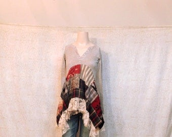 REVIVAL Women's Upcycled Boho Shirt, Hippie Chic Country Festival Bohemian Junk Gypsy Style, Small to Medium Recycled Repurposed EcoFriendly