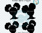 Little Girl Silhouettes, African American Girl Silhouettes, Natural Hair Afro Puffs Hair Style Clip Art, Natural Hair Little Black Girl PNGs