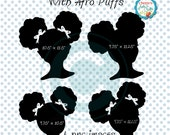 Little Girl Silhouettes, African American Girl Silhouettes, Natural Hair Afro Puffs Hair Style Clip Art, Natural Hair Little Black Girl, Art