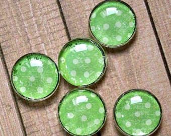 Five Distressed-Green-with-White-Polka-Dots Glass Cabochon Magnets, Christmas, Birthday, Office, Housewarming Gift