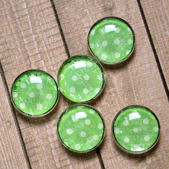 Five Distressed Green With White Polka Dots Glass Cabochon