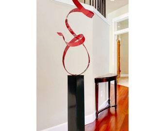 Extra Large Red Modern Metal Garden Sculpture, Abstract Metal Yard Art, Indoor Outdoor Sculpture Decor - Red Allure 24 by Jon Allen
